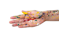 Woman hands in paint make a free shape Royalty Free Stock Images