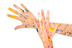 Woman hands in paint make a free shape Royalty Free Stock Image