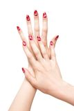 Woman hands with painted nails Royalty Free Stock Photo
