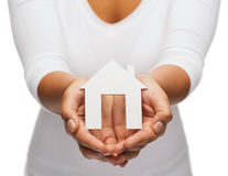 Woman hands with paper house royalty free stock images
