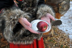 Woman hands with plate and apple winter fairy tale Royalty Free Stock Image