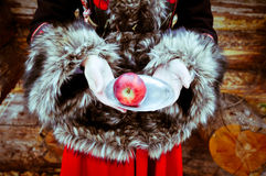 Woman hands with plate and apple winter fairy tale Royalty Free Stock Photography