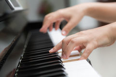 woman hands  playing piano Royalty Free Stock Photo