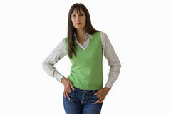 woman with hands in pockets, cut out Royalty Free Stock Image