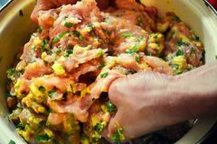 Woman hands prepare miced fresh meat for the meatballs. Manually mixing the  meat with eggs, parsley and garlic royalty free stock photos