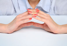 Woman hands protect something Stock Images