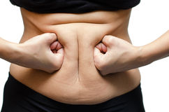 Woman hands punching stomach Royalty Free Stock Photography
