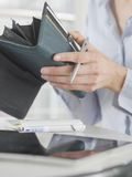 Woman hands purse Royalty Free Stock Images