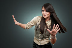 Woman with hands raised Royalty Free Stock Photography