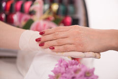 Woman hands receiving a manicure Royalty Free Stock Image