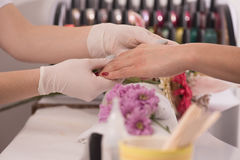 Woman hands receiving a manicure Stock Images