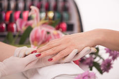 Woman hands receiving a manicure Stock Image