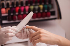 Woman hands receiving a manicure Stock Photography