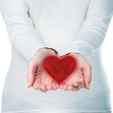 Woman hands with red heart Stock Photos