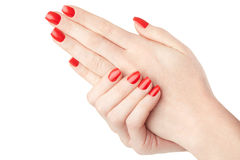 Woman hands with red nail polish manicure Stock Photo
