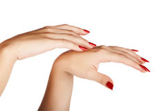 Woman hands with red nails Stock Images