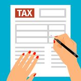 Woman hands filling tax form. Woman hands with red nails filling tax form, vector illustration Stock Photo