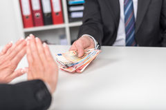 Woman hands rejecting an offer of money Stock Photos