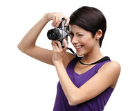 Woman hands retro photographic camera Royalty Free Stock Photos