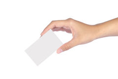 Woman hands Set of hand holding. Beautiful woman hands Set of hand holding an empty business card over white Stock Images