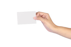 Woman hands Set of hand holding. Beautiful woman hands Set of hand holding an empty business card over white Royalty Free Stock Image