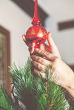 Woman hands set the top of Christmas tree Royalty Free Stock Photo