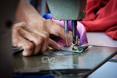 Woman Hands Sewing Fabric Repairs On Old Sewing Stock Photos