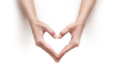 Woman hands show heart gesture Stock Photography