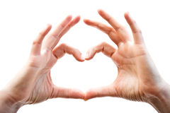 Woman hands showing heart gesture, isolated Stock Photos
