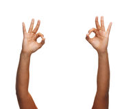 Woman hands showing ok sign Stock Photography