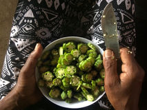 Woman hands slicing Okra Royalty Free Stock Photo