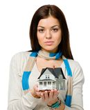 Woman hands small model house Stock Photography