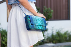 Woman hands with snakeskin python luxury bag near the swimming pool. Stylish look stock photo