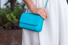 Woman hands with snakeskin python luxury bag near the swimming pool. Stylish look royalty free stock photos