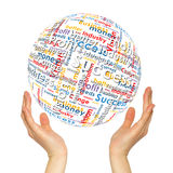Woman hands sphere with business words Royalty Free Stock Image