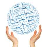 Woman hands sphere with business words Stock Images