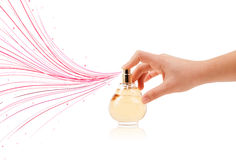 Woman hands spraying colorful lines Royalty Free Stock Photo