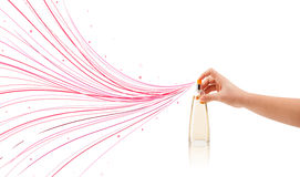 Woman hands spraying colorful lines Stock Photography
