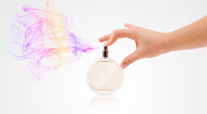 Woman hands spraying perfume Royalty Free Stock Photos