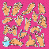 Woman Hands Stickers, Badges and Patches. Female Hand Gesturing Different Signs Stock Photos