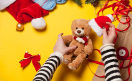 Woman hands and teddy bear toy Stock Photography