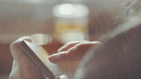 Woman Hands Texting On Smartphone Outdoor stock footage