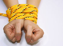 Woman hands tied with rope. Royalty Free Stock Images