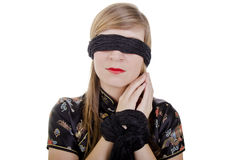 Woman hands tied up and blindfolded Stock Photos