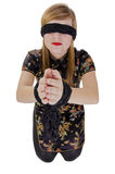 Woman hands tied up and blindfolded Royalty Free Stock Image