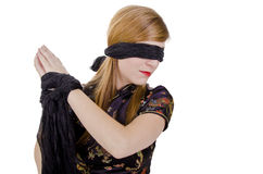 Woman hands tied up and blindfolded Royalty Free Stock Photo