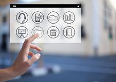 Woman hands touching digitally generated social networking icons. Close- up of woman hands touching digitally generated social networking icons Royalty Free Stock Photo