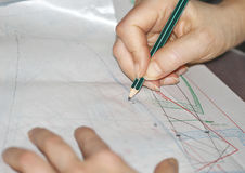 The woman hands tracing the sewing drawing Stock Photo