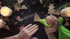 Woman hands. Traditional homemade christmas dessert stock video