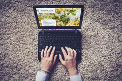 Woman hands typing on a laptop. Royalty Free Stock Photo